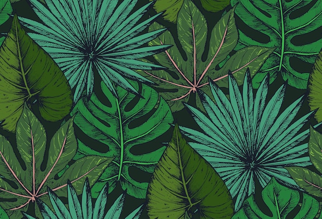 Seamless pattern with compositions of hand drawn tropical palm leaves, jungle plants.