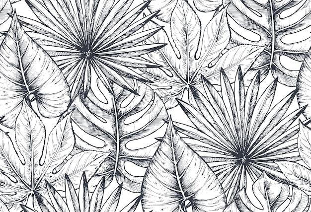 手描きの熱帯の花、ヤシの葉、ジャングルの植物、楽園の花束の構成とシームレスなパターン。美しい黒と白のスケッチ花の無限の背景