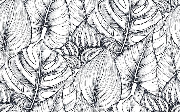 Бесшовные модели с композициями рисованной тропических цветов, пальмовых листьев, растений джунглей, райского букета. черно-белый набросал цветочный узор