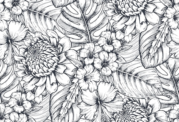 手描きの熱帯の花、ヤシの葉、ジャングルの植物、楽園の花束の構成とシームレスなパターン。黒と白のスケッチ花柄