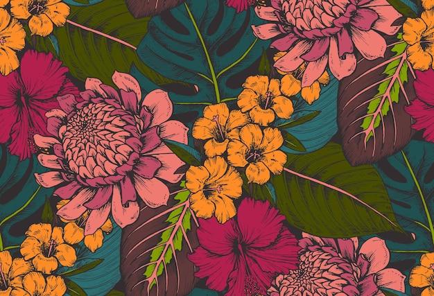 手描きの熱帯の花、ヤシの葉、ジャングルの植物、楽園の花束の構成とシームレスなパターン。
