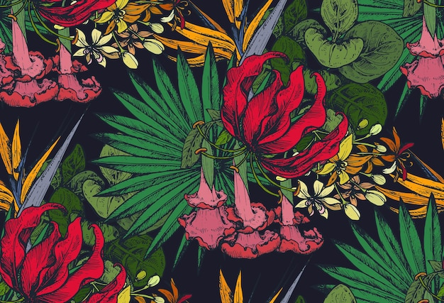 Бесшовные модели с композициями рисованной тропических цветов, пальмовых листьев, растений джунглей, райского букета.