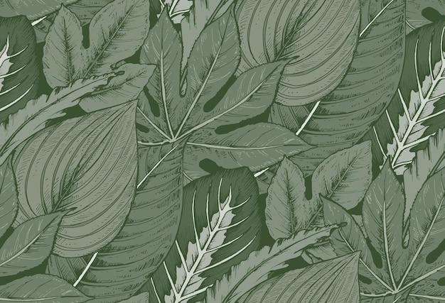 손으로 그린 열 대 야 자 잎, 정글 식물의 구성과 완벽 한 패턴입니다.