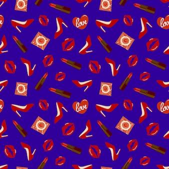 파란색 배경에 콘돔, 신발, 입술이 있는 매끄러운 패턴입니다. 벡터 일러스트 레이 션