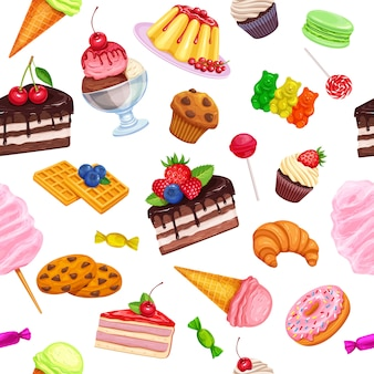 Seamless pattern with confectionery