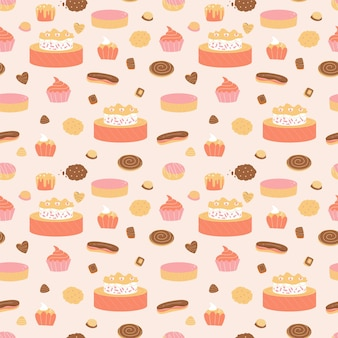 菓子とのシームレスなパターン
