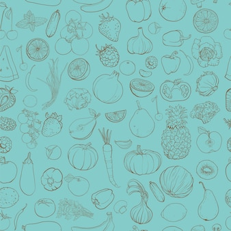 Seamless pattern with contour drawing of vegetables, fruit, berries. background with food ingredients.