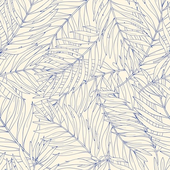 Seamless pattern with contour tropical palm leaves. nature background.