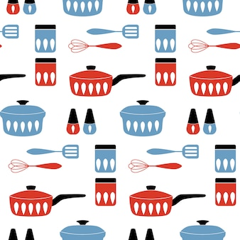 Seamless pattern with cookware.