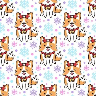 Бесшовный фон с собакой корги как олененок помощник санта на фоне снега