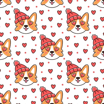 Seamless pattern with corgi dog in red knitted hat with heart for happy valentines day