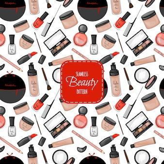Seamless pattern with cosmetics. cartoon style.