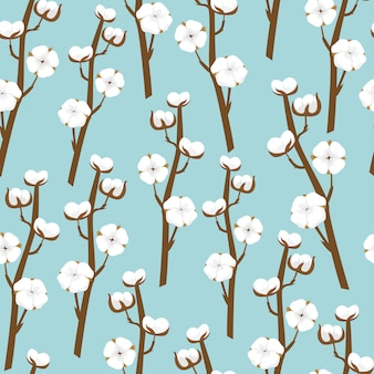 Seamless pattern with cotton branches. delicate blue floral background.