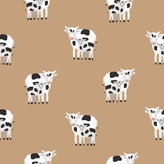 黒と白のパッチでコーティングされた牛と子牛のシームレスパターン。茶色の背景にかわいい漫画の動物の背景。テキスタイルプリント、壁紙、包装紙のカラフルなイラスト。