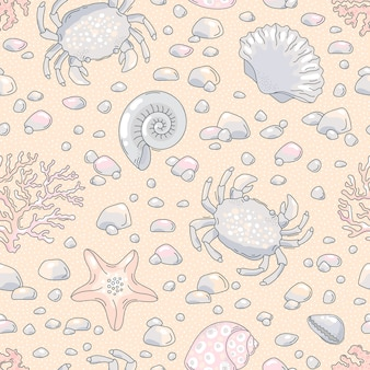 Seamless pattern with crab, seashell, starfish, ostrich, shells.