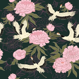 Seamless pattern with cranes and peonies.