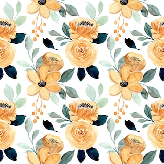 Seamless pattern with cream floral and green leaves watercolor