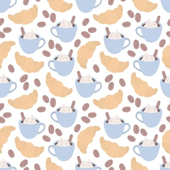 Seamless pattern with a croissant a cup of coffee and coffee beans