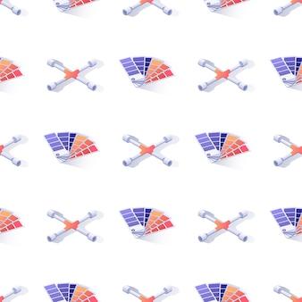 クロスリムレンチとパレットのシームレスパターン