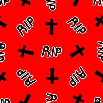 빨간색 배경 벡터 일러스트 레이 션에 십자가와 립 비문과 원활한 패턴