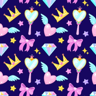 Seamless pattern with crown diamond heart bow mirrow and stars
