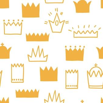 다른 모양과 크기의 왕관과 함께 완벽 한 패턴입니다. 검은 선으로 흰색에 벡터 일러스트 레이 션. 직물, 포장지 및 배경 디자인