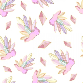 Seamless pattern with crystals and gems, jewelry stones