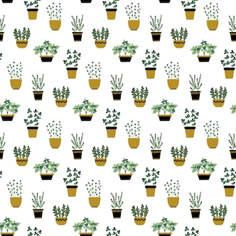 Seamless pattern with culinary herbs in pots.
