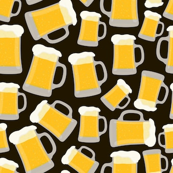 Seamless pattern with cup of beer