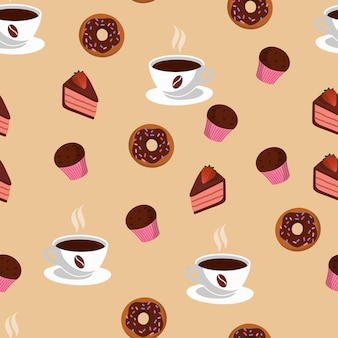 Seamless pattern with cup of coffee and sweets. delicious bakery. beige background.