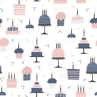 Seamless pattern with cupcakes and cakes in flat design.