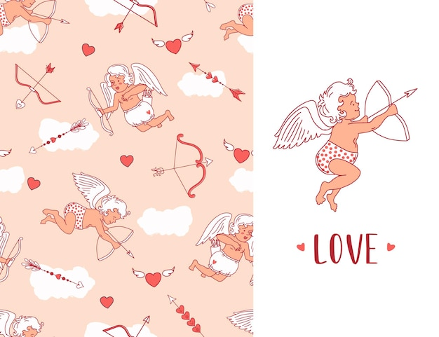 Seamless pattern with cupids, arrows and hearts. valentine's day greeting card.  background.