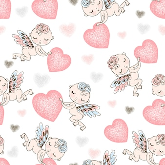 Seamless pattern with cupids bearing hearts.