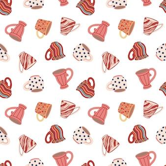 컵과 머그와 함께 매끄러운 패턴 귀여운 세라믹 식기