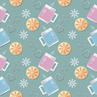 Seamless pattern with cups, lemon wedges, hearts, snowflakes.
