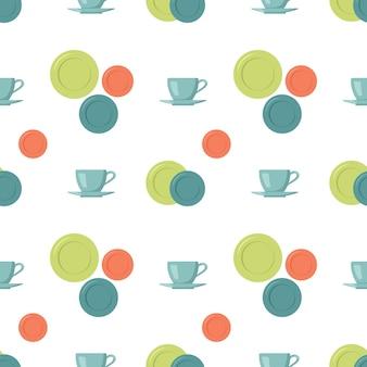 컵 접시와 함께 완벽 한 패턴