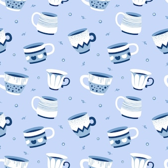 Seamless pattern with cups in the scandinavian style, for fabric, wallpaper.