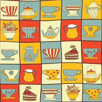 Seamless pattern with cups and teapots.