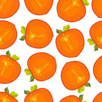 白い背景にカキ柿のフルーツパターンをカットしたシームレスパターン