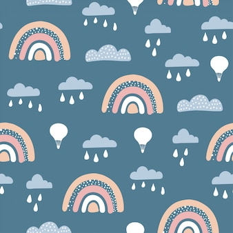 Seamless pattern with cute airballoon,rainbow with hand drawn elements.