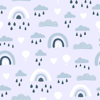 귀여운 airballoon, 손으로 그린 요소와 무지개와 완벽 한 패턴입니다.