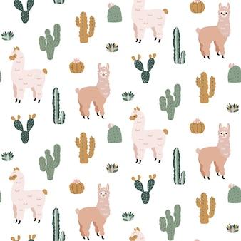 Безшовная картина с милыми альпаками и кактусами.