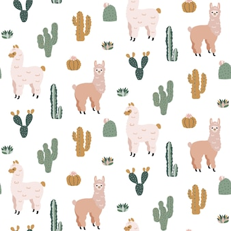 Seamless pattern with cute alpacas and cacti.