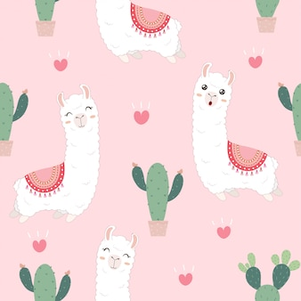 Seamless pattern with cute alpacas and cactus.