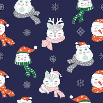 ネイビーの背景に分離されたかわいい動物のキャラクターとクリスマスの要素とのシームレスなパターン。ベクトルイラスト。