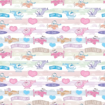 Seamless pattern with cute animal on plane.