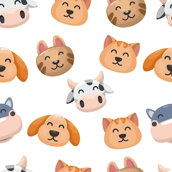 Seamless pattern with cute animal, rabbit, bear, cow,cat, and hippo . head animal background.