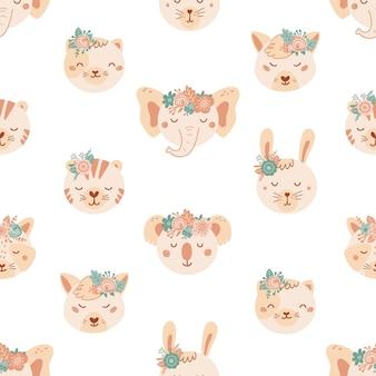 かわいい動物や花とのシームレスなパターン。フラットスタイルのライオン、犬、象、猫、tigeの背景。子供のためのイラスト。壁紙、布、テキスタイル、包装紙のデザイン。ベクター