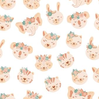 かわいい動物や花とのシームレスなパターン。フラットスタイルのアライグマ、ウサギ、キツネ、猫、tigeの背景。子供のためのイラスト。壁紙、布、テキスタイル、包装紙のデザイン。ベクター