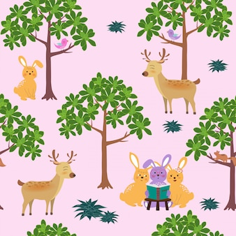 Seamless pattern with cute animals on bright and colorful background